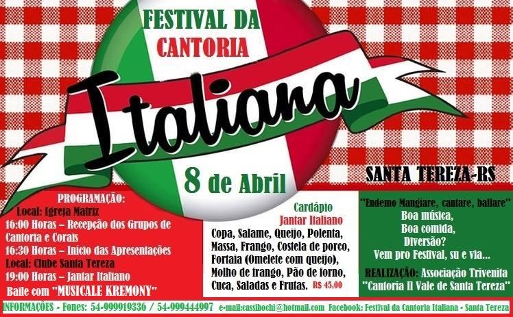 Santa Tereza promove dia 8 o Festival da Cantoria Italiana