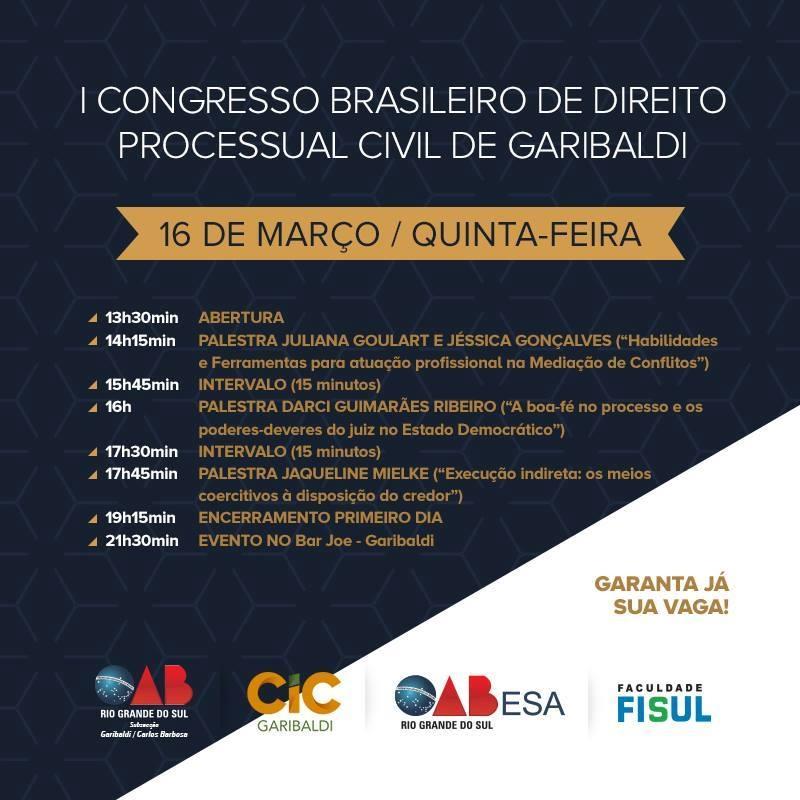 Congresso Brasileiro de Direito Processual Civil acontece na próxima semana em Garibaldi