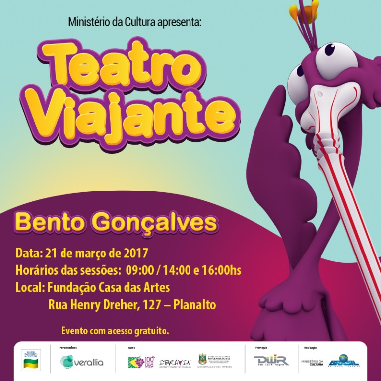 Teatro Viajante incentiva vida saudável para crianças nesta terça em Bento