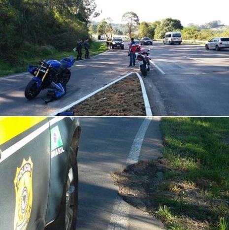 Motociclista fica ferido em acidente na BR-470 em Garibaldi