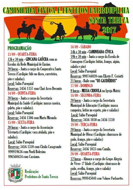 Aberta programação dos Festejos Farroupilha em Santa Tereza