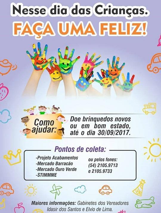 Vereadores promovem ação social para o Dia da Criança em Bento