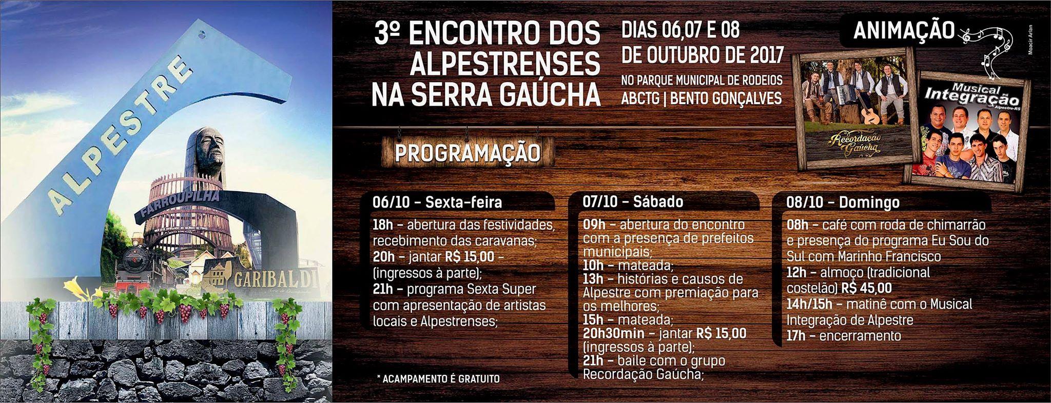 3º Encontro dos Alpestrenses na Serra Gaúcha será realizado em Bento