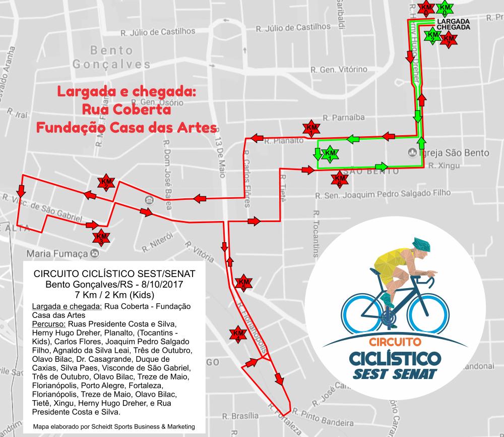 percurso circuito ciclístico Sest Senat
