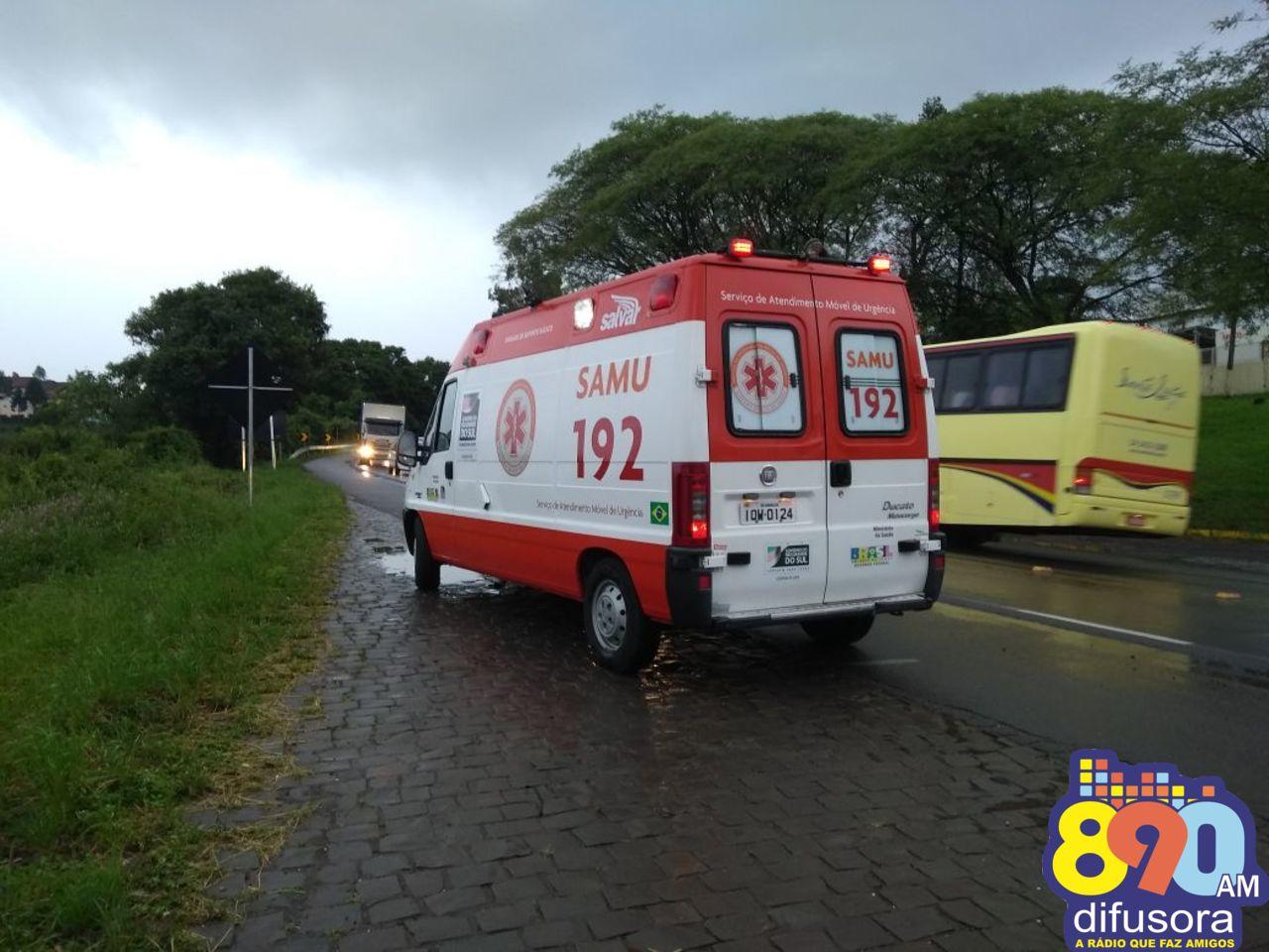 Motociclista fica ferido em acidente na BR 470 em Garibaldi