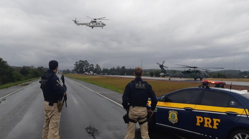 PRF participa de operação para garantir a segurança da comitiva presidencial no RS