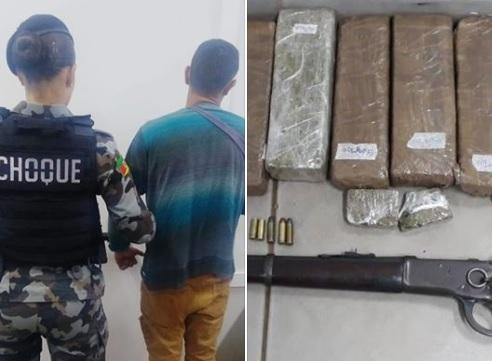 4° BPChoque prende homem por tráfico de drogas e posse irregular de arma em Lagoa Vermelha