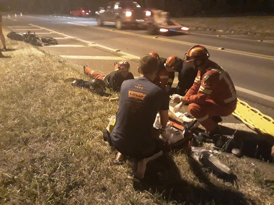 Motociclista fica ferido em acidente na RSC-453 Rota do Sol em Garibaldi
