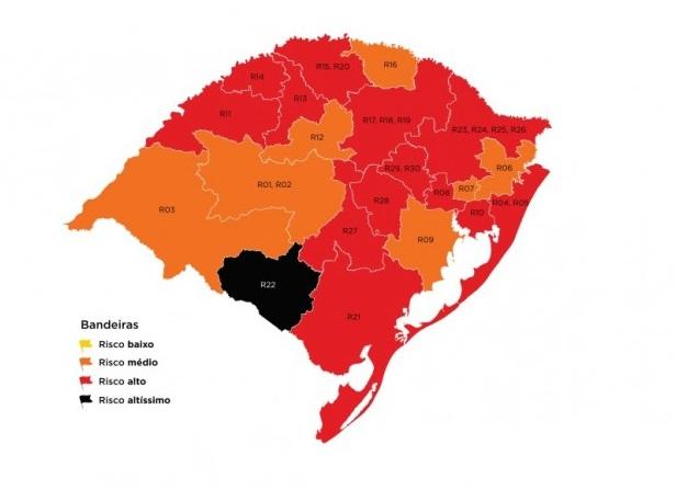 No primeiro mapa preliminar de 2021, RS volta a ter região em bandeira preta