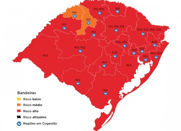 RS apresenta aumento das regiões em vermelho na 36ª rodada; Serra segue na classificação de alto risco