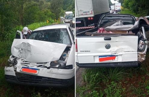 Casal é socorrido após acidente na RSC-453 na Linha Buratti em Farroupilha