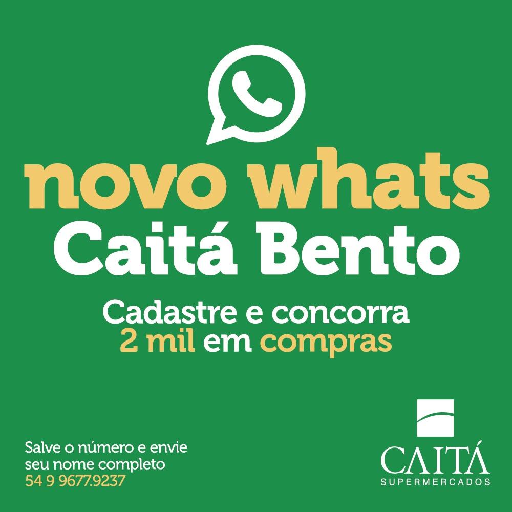 Novo WhatsApp do Caitá de Bento vai sortear R$ 2 mil