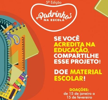 """Projeto """"Padrinhos na Escola"""" realiza arrecadação de materiais escolares em Bento"""