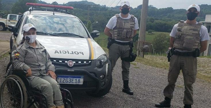 Brigada Militar realiza sonho de menina que queria andar de viatura em São Marcos