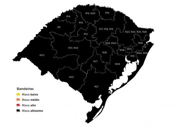 Mapa do Distanciamento Controlado confirma todo o RS em bandeira preta na 43ª rodada