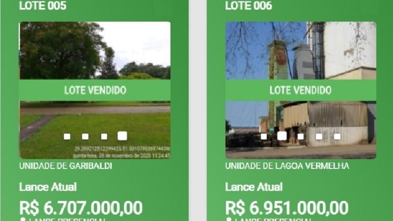 Leilão arrecada R$ 13,6 milhões com venda de unidades da Cesa em Garibaldi e Lagoa Vermelha