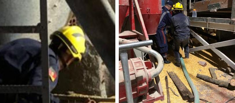 Bombeiros socorrem trabalhador soterrado em silo em Nova Bassano