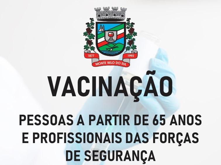 Vacinação para idosos e servidores da segurança nesta terça em Monte Belo