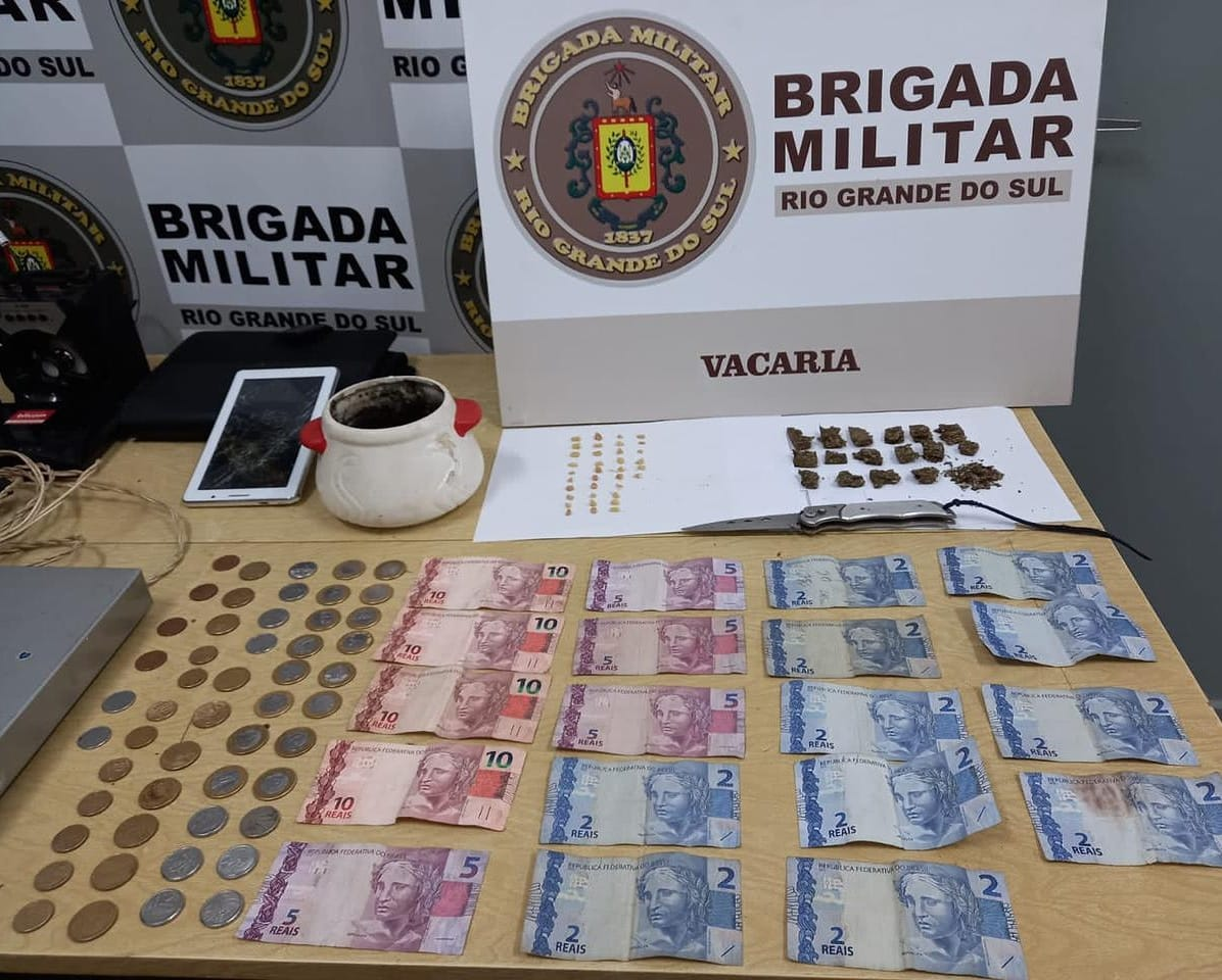 Brigada Militar prende dois indivíduos por tráfico de drogas em Vacaria
