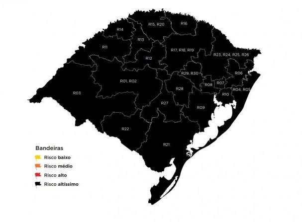 Com todas as regiões em bandeira preta, RS completa 50 semanas do modelo de Distanciamento Controlado