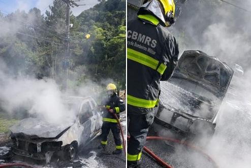 Bombeiros combatem incêndio em veículo no interior de Bento
