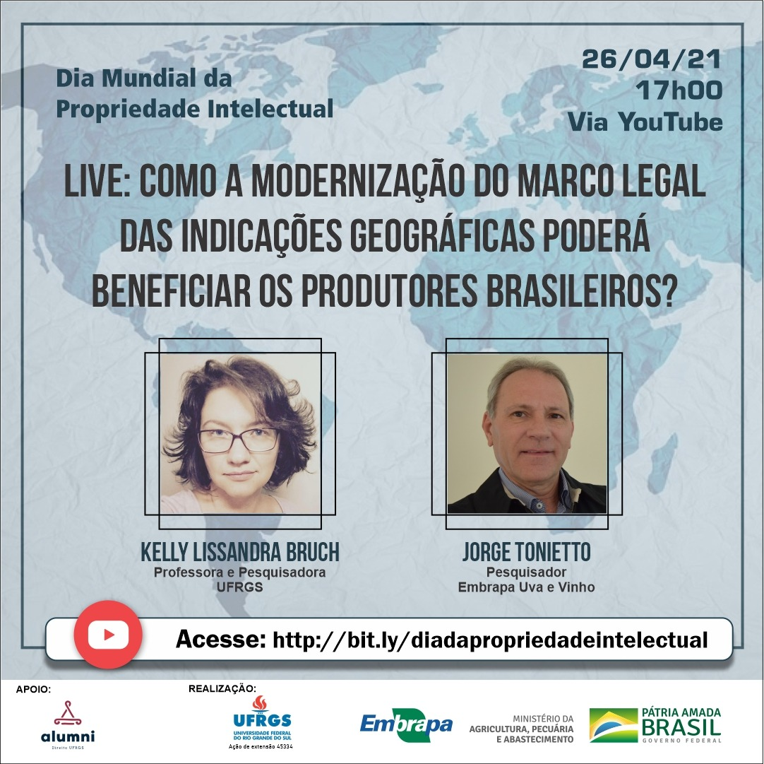 Embrapa Uva e Vinho e UFRGS celebram Dia Mundial da Propriedade Intelectual com bate papo virtual