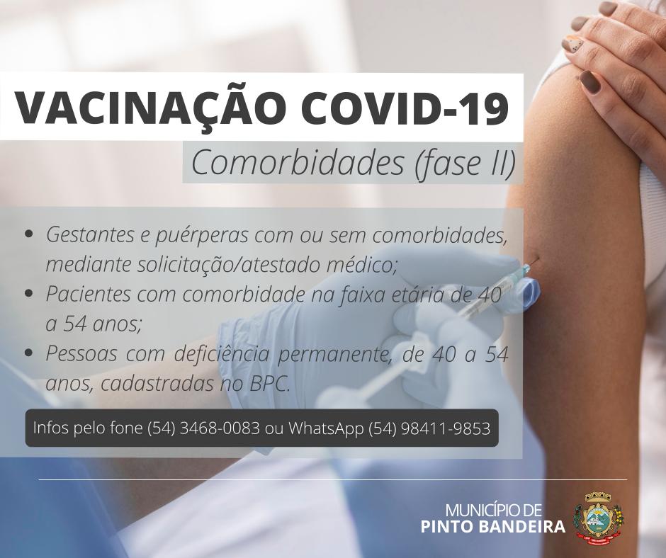 Pinto Bandeira irá vacinar novo grupo de comorbidades contra Covid-19