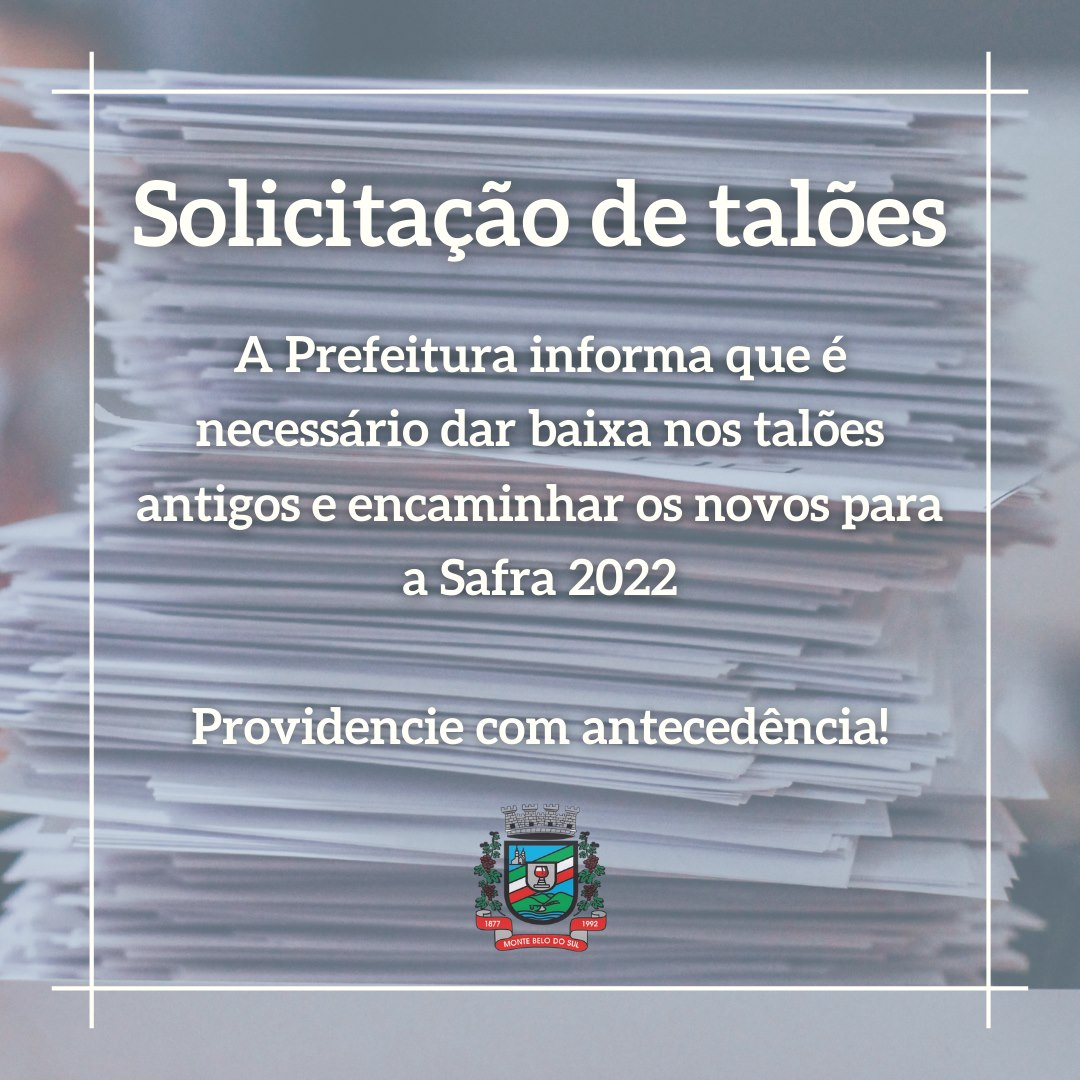 Prefeitura de Monte Belo orienta produtores para entrega de talões