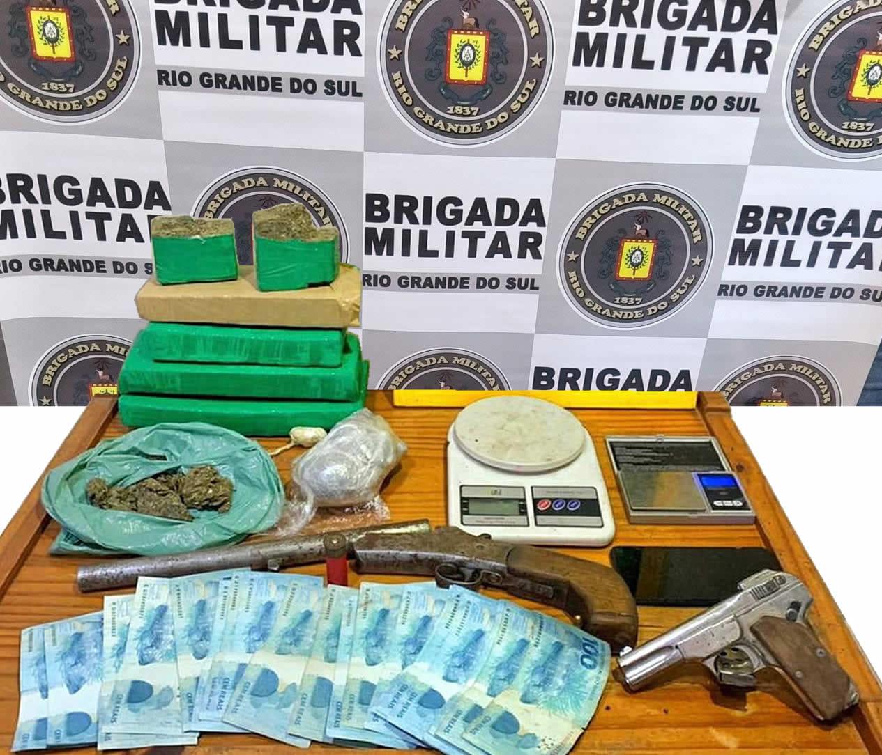 Brigada Militar prende mulher com 3,8kg de maconha e duas armas em Canela