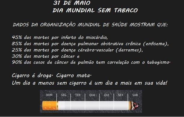 Dia Mundial sem Tabaco: SESMT de Bento alerta sobre os malefícios do cigarro
