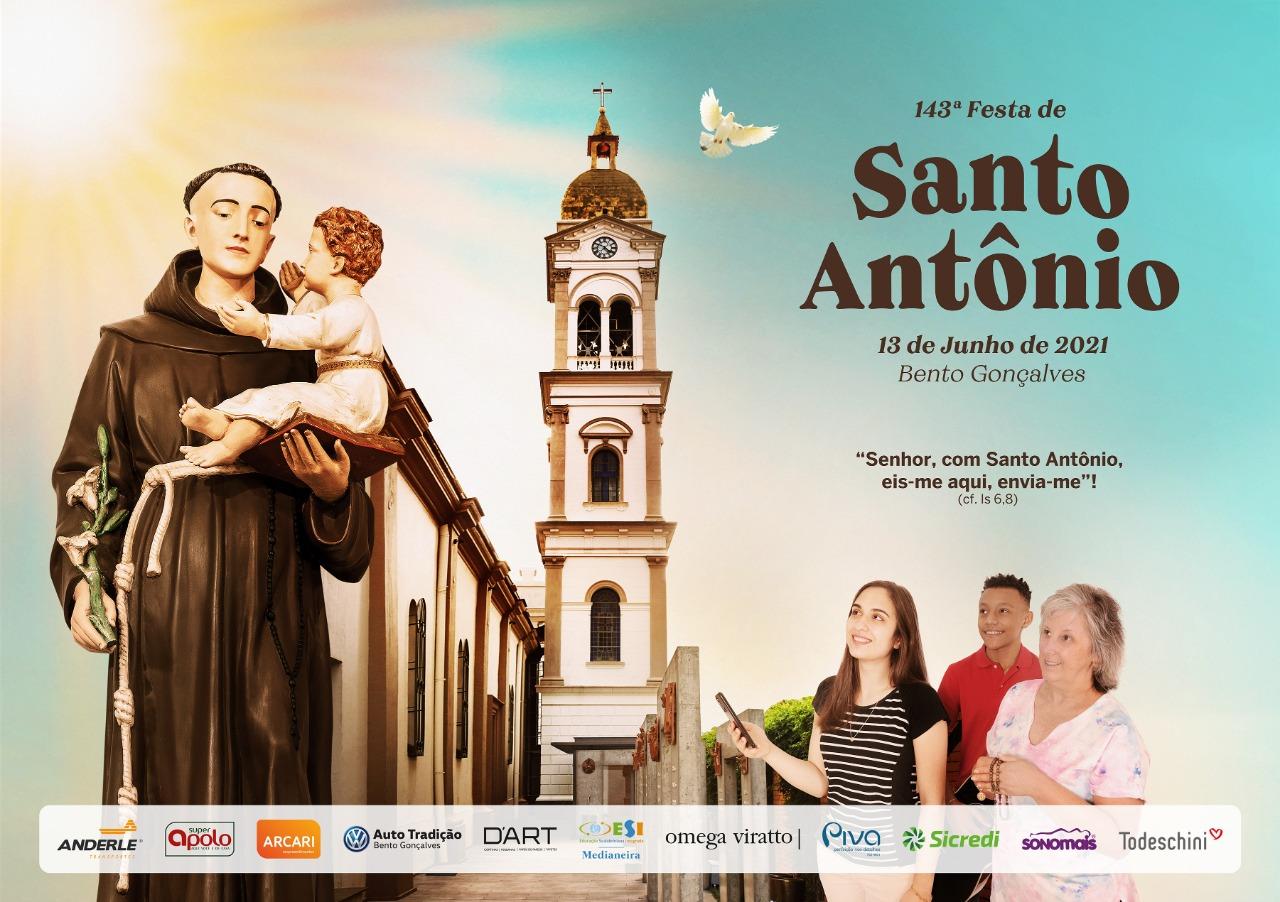 Dia Festivo de Santo Antônio terá cinco Missas e carreata com a imagem do Padroeiro, em Bento Gonçalves