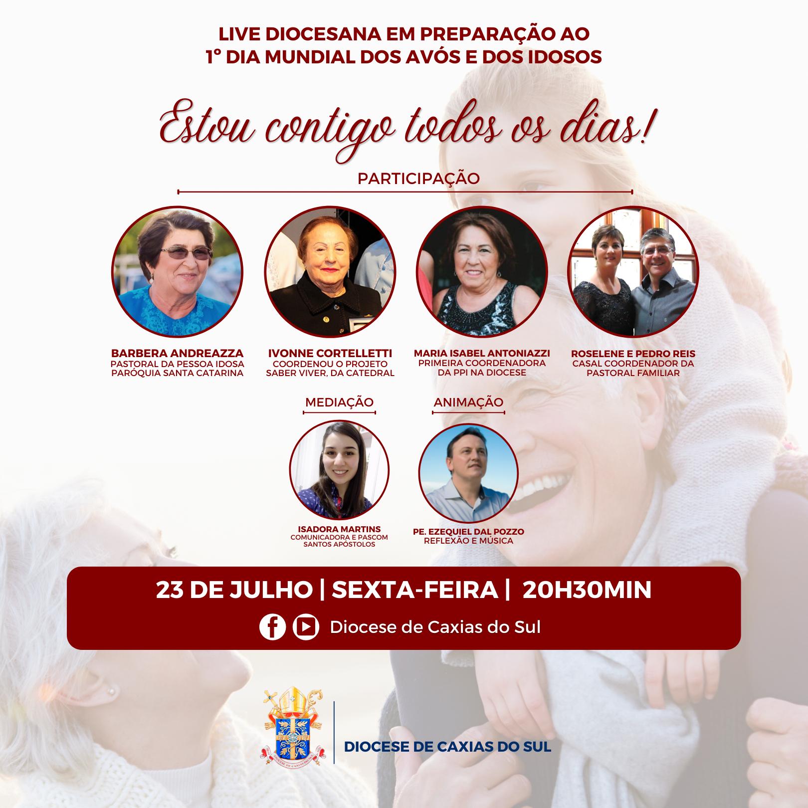 Diocese de Caxias do Sul terá live com reflexões e música para celebrar o 1º Dia Mundial dos Avós e dos Idosos