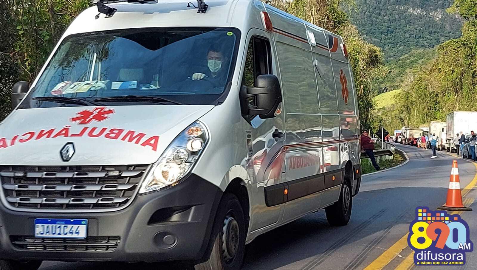 Motociclista fica ferido em acidente na BR-470, Serra das Antas, em Bento