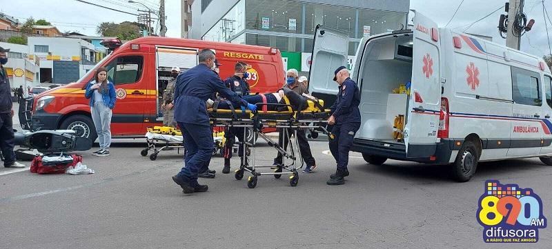 Acidente deixa uma pessoa ferida no bairro São Roque, em Bento