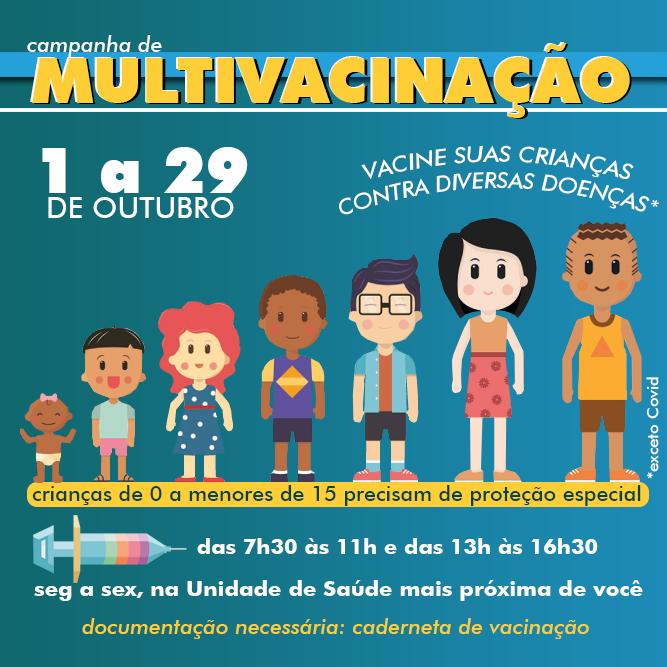 Campanha de multivacinação de crianças e adolescentes segue até o dia 29