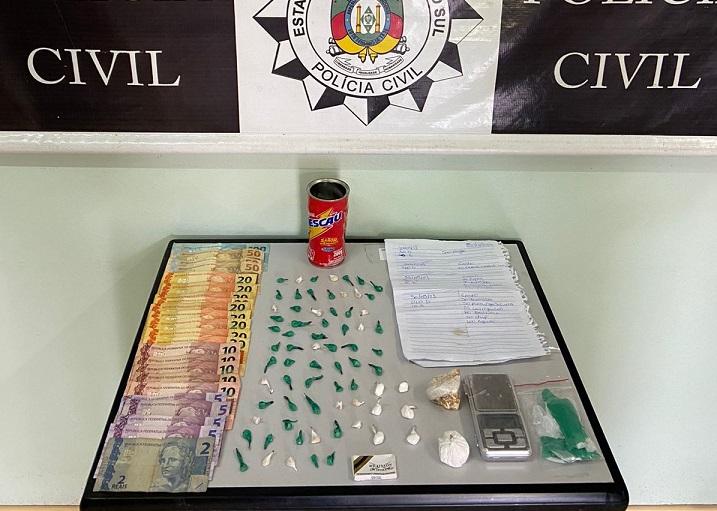 Mulher é presa por tráfico de drogas em operação da Polícia Civil em Garibaldi