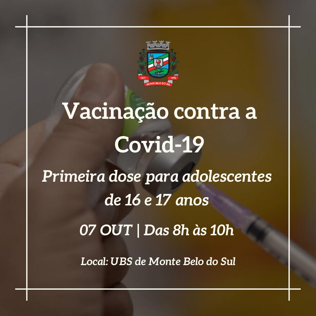 Monte Belo vacina adolescentes de 16 e 17 anos nesta quinta-feira