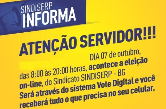 On-line, confirmada Eleição do Sindiserp-BG para esta quinta-feira