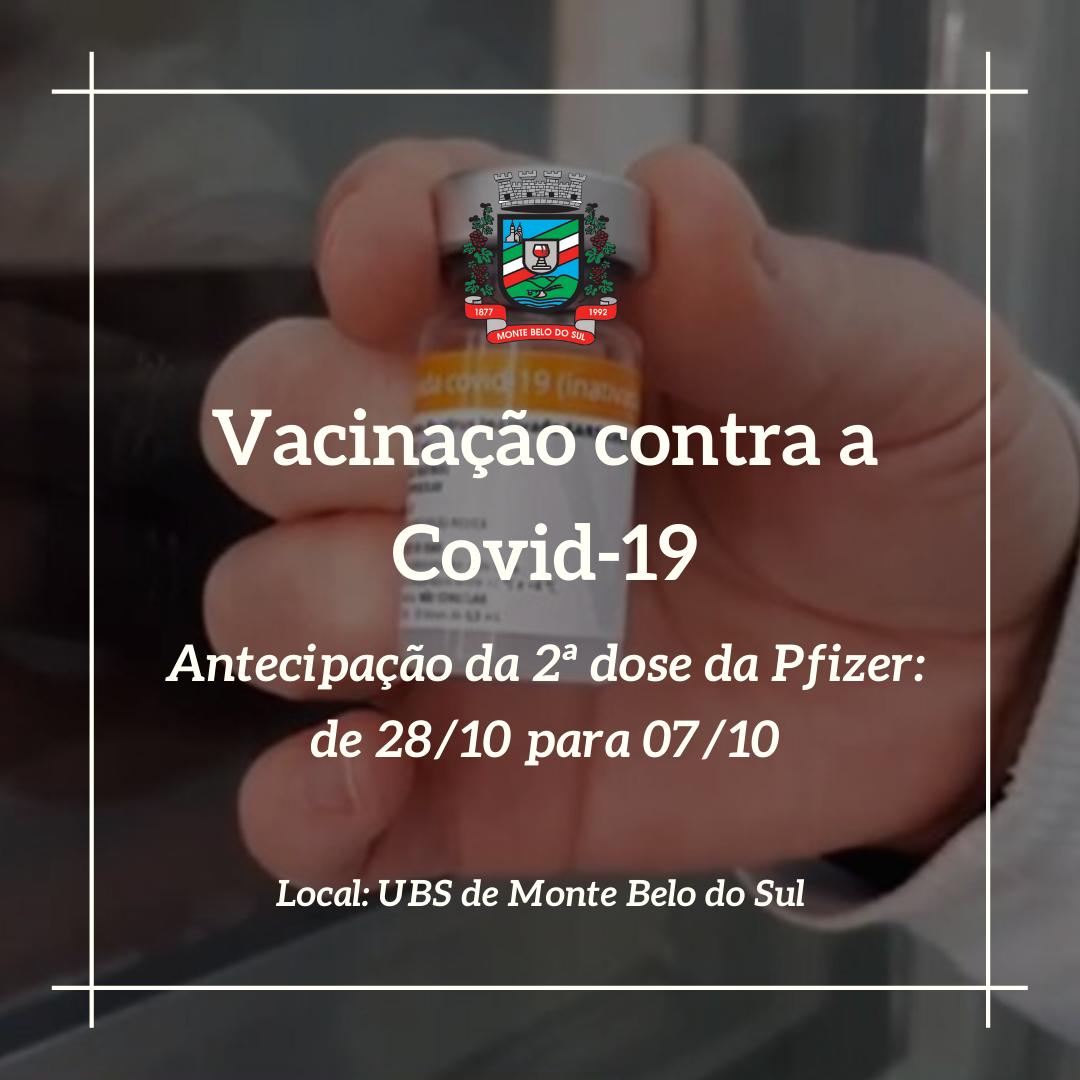Monte Belo aplica 2ª dose da Pfizer na quinta, dia 7